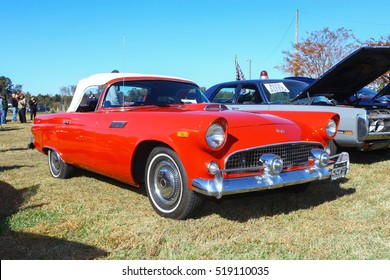 GLOUCESTER, VIRGINIA - NOVEMBER 12, 2016: A convertible Ford Thunderbird in the annual Shop With a Cop Car Show held once each year to help benefit needy children of Gloucester for Christmas