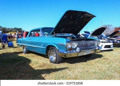 GLOUCESTER, VIRGINIA - NOVEMBER 12, 2016: A 1963 Chevrolet Impala SS in the annual Shop With a Cop Car Show held once each year to help benefit needy children of Gloucester for Christmas