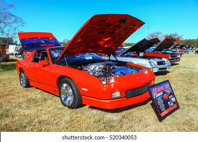 GLOUCESTER, VIRGINIA - NOVEMBER 12, 2016: A 1985 Chevrolet IROC Camaro Z28 in the annual Shop With a Cop Car Show held once each year to help benefit needy children of Gloucester for Christmas