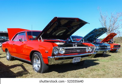 GLOUCESTER, VIRGINIA - NOVEMBER 12, 2016: A 1967 Chevrolet Chevelle SS 396 in the annual Shop With a Cop Car Show held once each year to help benefit needy children of Gloucester for Christmas