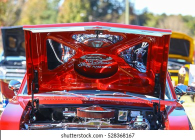 GLOUCESTER, VIRGINIA - NOVEMBER 12, 2016: A 1971 Chevrolet Nova SS in the annual Shop With a Cop Car Show held once each year to help benefit needy children of Gloucester for Christmas