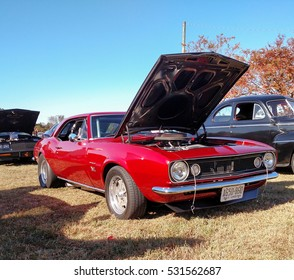 GLOUCESTER, VIRGINIA - NOVEMBER 12, 2016: A 1967 Chevrolet Camaro in the annual Shop With a Cop Car Show held once each year to help benefit needy children of Gloucester for Christmas