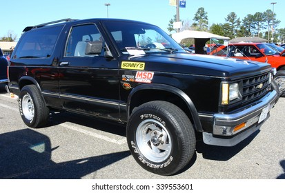 GLOUCESTER, VIRGINIA - NOVEMBER 14, 2015: A black Chevy S-10 Blazer in the annual Shop With a Cop Car Show held once each year to help benefit needy children of Gloucester for Christmas.