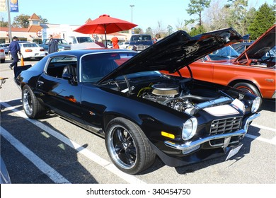 GLOUCESTER, VIRGINIA - NOVEMBER 14, 2015: A 1973 Chevy Camaro in the annual Shop With a Cop Car Show held once each year to help benefit needy children of Gloucester for Christmas.