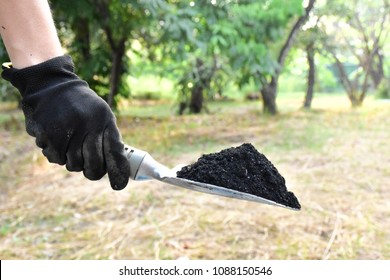 Glove hand with a small shovel on charcoal (biochar) texture background for fertilizer