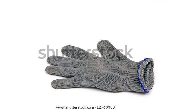 A glove woven with steel fiber used to protect the wearers hand while filleting fish. Also used when handling fish with sharp spines and teeth.