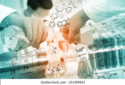 Gloved hand pour the solution from flask to another flask in laboratory with chemical equations and periodic table background.