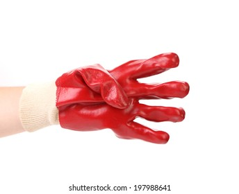 Gloved hand showing four fingers. Isolated on a white background.