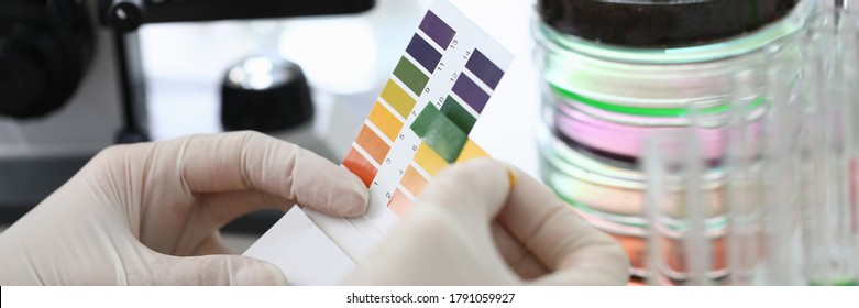 Gloved hands holding paper to test soil acidity. Litmus paper shows acidity, chemical analysis. Soil sampling for chemical analysis and ph test. Woman conducts chemical analysis fluid samples