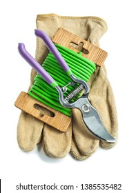 gloves garden rope and secateurs isolated