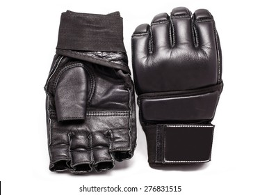 Gloves for MMA Chorny leather on a white background