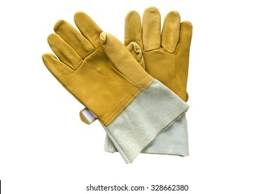 gloves safety on white background.