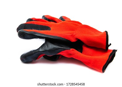 Gloves for workers, construction red with black rubber coating. Black-red gloves. Gloves on a white background, palm up, down. Glove on glove