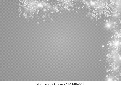 Glow effect. Vector illustration. Christmas dust flash. Snow is falling. Snowflakes. - Shutterstock ID 1861486543