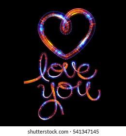 Glow heart on backdrop. Shine romantic font. Valentine sexy shape.