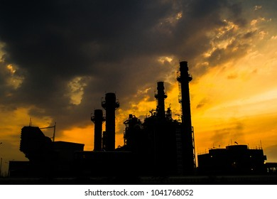Glow light of petrochemical industry on sunset and Twilight sky ,Power plant,Energy power station area