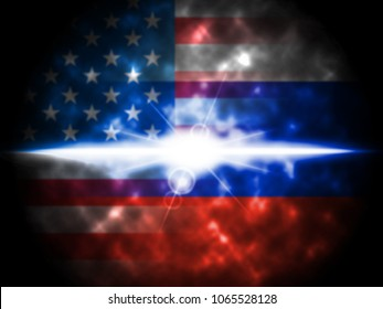 Glow On Russian Plus American Flag 3d Illustration. Cyber Crime  Criminal Campaign by Russian Government To Hack Elections In The USA Using Illegal Online Spying.