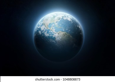 Glow planet Earth view from dark space. Elements of this image furnished by NASA