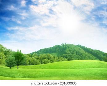 glow solar sky on beautiful meadow