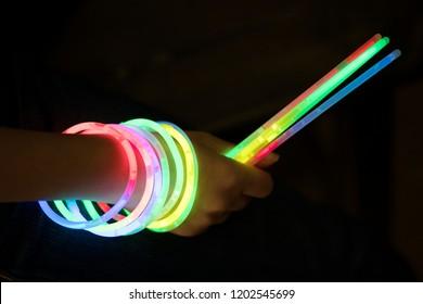 glow sticks with hand
