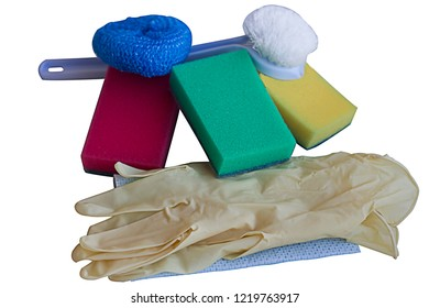 Glowes,ruff,sponges,accessories for washing dishes,isolated on white background.