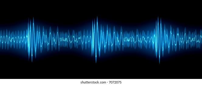 Glowing audio waveform