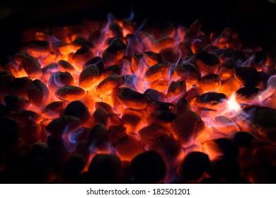 glowing barbecue coal