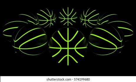 Glowing Basketball. 3D illustration. 3D CG. High resolution.