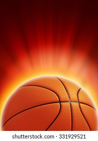 Glowing basketball on red background