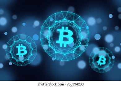 Glowing bitcoin signs on dark background. Cryptocurrency concept.