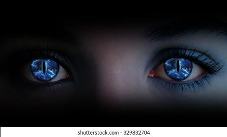 Glowing blue lightning eyes