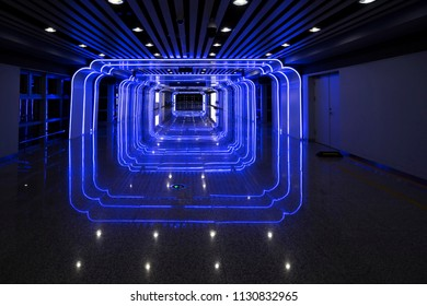 glowing blue tunnel background. Cyberspace concept,Time and space tunnel