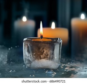 Glowing candle.