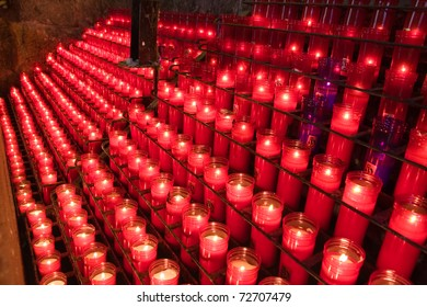glowing candles on dark background