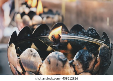 Glowing Candles in Wat Phar That Doi Suthep, Thai temple in Chiangmai Thailand