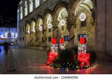 Glowing Christmas decoration of the street in the old town in Dubrovnik
