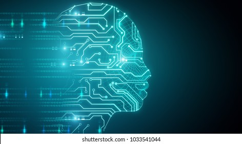 Glowing circuit head on blue background. 3D Rendering