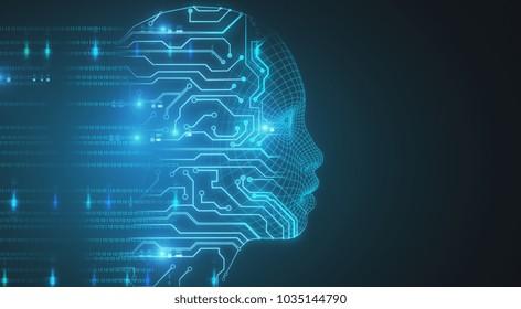 Glowing circuit head on blue backdrop. 3D Rendering