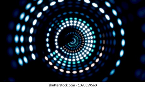 Glowing circular 3D UI element. Illuminated geometric circle and sphere shapes transforming in a seamless loop. Circular glow animation