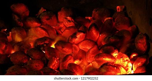 glowing coal in the fireplace