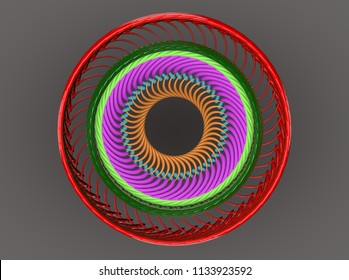 glowing colored lines of motion 3D illustration