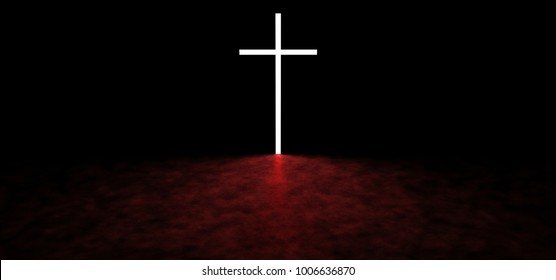 A glowing cross in a dark space. On the floor are reflections of red color. 3D Render