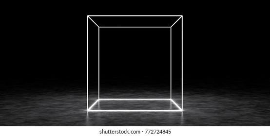 A glowing cube in a dark space. 3D Render