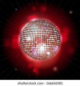 Glowing disco ball on a red background with lens flares