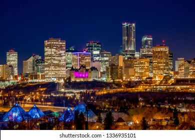 Glowing Downtown Edmonton Skyline