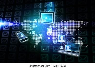 Glowing envelopes on black background against glowing envelopes on black background