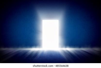 Glowing exit from dark room, open door. Background, template, mock up