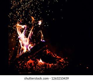 A glowing fire in fireplace