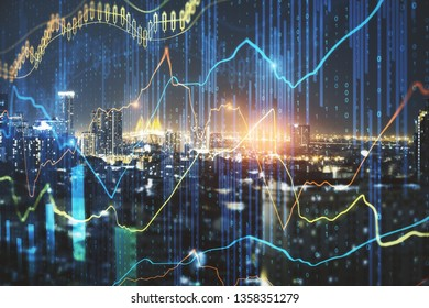 Glowing forex chart on night city background with candlestick line. Finance. trade and invest concept. Double exposure
