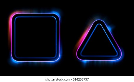 Glowing frames on black background. Square glow borders. Sparkling geometric light banner. Luminous triangle light shape. Shining triangular forms. Neon sign. Bright sign with flares and sparkles. LED